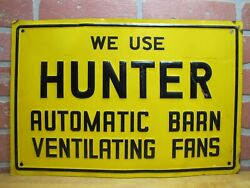 Hunter Barn Fans Sign Old Advertising Farm Feed Seed Store Embossed Tin Ad