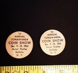 Vintage Lot Of 2 Wooden Nickel 1st Annual Coin Show - Buffalo Ny 1963