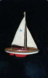 Vintage Plastic And Wood Pond Toy Sail Boat Yacht Mid Century