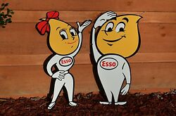 Old Style 24 Esso Motor Oil Oil Drop Girl Boy Set Thick Steel Sign Made In Usa