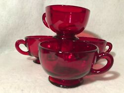 Vintage Ruby Red Glass Set Of Four Footed Tea Cup Cranberry