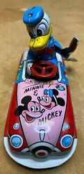 Vintage Marx Linemar Donald Duck The Driver Tin Wind-up Car   Very Nice