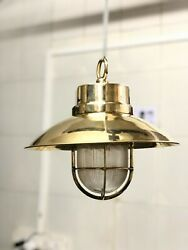 Antique Nautical Ship Brass Long Vintage Pendant Light With Shade/hook Lot Of 10