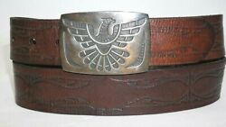 Levi's Western Wide Casual Belt With Thunderbird Buckle Sz 34-36 Leather Tooled