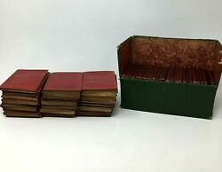 Antique Little Leather Library Lot Of 57 Books Poe Lincoln Washington Longfellow