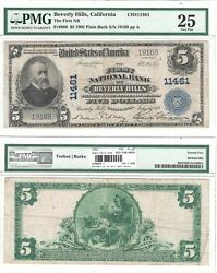 1902 5 First National Bank Of Beverly Hills Ca 11461 Pmg Very Fine-25