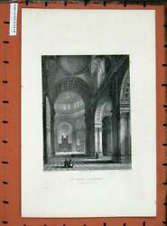 Original Old Antique Print View Nave Choir St Paul's Cathedral Church Winkles