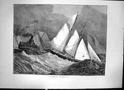 Old Print Yachting In America Sailing In Storm High Waves Steamship 1871 19th