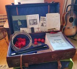 Vintage 1920s Vaudeville Magicianand039s Suitcase W/ Tricks And Complete Tarbell Magic