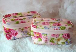 NEW: 2 pink roses makeup bags Modella cosmetic bags vanity bags new with tag $29.99