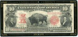 1901 10 Bison Buffalo United States Note Large Size Red Seal Us Currency - Jl61