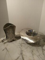 Pewterware Handmade Cowboy Boot And Hat Planter Or Vase