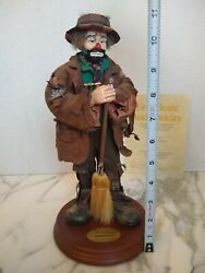 Sweeping Up 2 Real Rags Emmett Kelly Jr Flambro Clown Figurine With Base