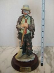 Signed Sweeping Up With Base Emmett Kelly Jr Porcelain Flambro Clown Figurine