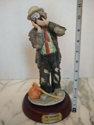 Signed The Toothache Emmett Kelly Jr Porcelain Flambro Clown Figurine With Base
