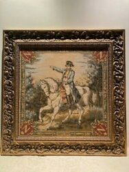 Vintage French Aubusson Framed Napoleon Tapestry in excellent condition