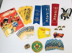 Lot- Bsa Cub Scout Derby Ribbons Patches Pins And Medal. 48 Pieces Most New Z5
