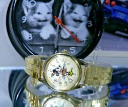 All Metal 3d Minnie Mouse Licensed Disney Parks Golden Watch. 2 Year Warranty