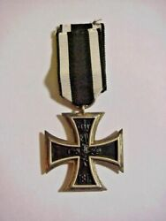Wwi 1813 1914 Germany Sterling Silver Iron Cross Medal Ribbon