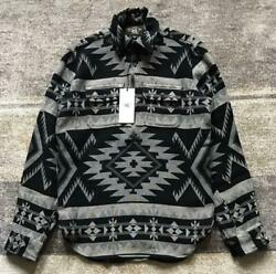 Rrl Half Zip Flannel Shirt Tops Native Indian Pattern Pullover Men Xs From Japan