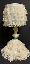 Antique Vtg Chalkware Boudoir Victorian Lady Lamp Lace Shade And Dress3 Way Light