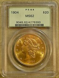 1904 Pcgs Ms62 20 Liberty Gold Double Eagle - Old Green Holder 93