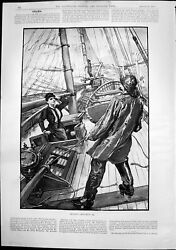 Antique Print Cruising Roughing It Lady Appears Below Deck Boat Storm 1892 19th
