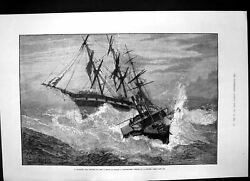 Old Antique Print Channel Tug Rope Onboard Distressed Vessel Storm 1881 19th