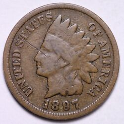 1897 1 In Neck Indian Head Cent Penny Vg Free Shipping E557 Wc