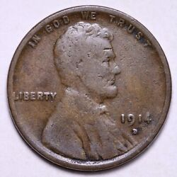 1914-d Lincoln Wheat Cent Penny Choice Vg Free Shipping E572 Kcmm