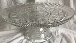 Vintage Fostoria Geometric Cake Plate Clear Glass 11 Inches Wide Pedestal Footed