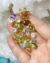 Gorgeous Multi Colored Rhinestone Floral Solid 14k Yellow Gold Brooch Pin 2.75