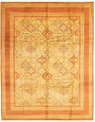 Vintage Hand-knotted Carpet 9'1 X 11'6 Traditional Copper, Ivory Wool Area Rug