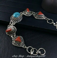 925 Silver Jewellery Natural Turquoise Coral Gem Pure Hand Bracelet Bangle