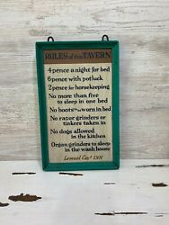 Yorkraft Sign Vintage Rules Of This Tavern Farmhouse Teal Wall Decor Rustic