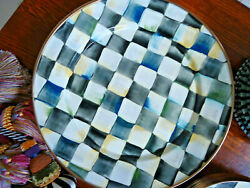 """7 Mackenzie Childs 1995 Courtly Check Enamelcheckerboard 12"""" Charger Plates"""