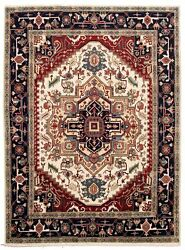 Vintage Geometric Hand-knotted Carpet 8and0398 X 11and03911 Traditional Wool Area Rug