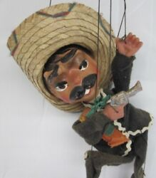 """Vintage 16"""" Mexican Sombrero Man Marionette Puppet With Pistol"""