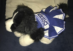 """Build A Bear 15"""" Border Collie Black And White Plush Realistic Dog W/ Cheer Outfit"""