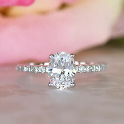 Oval Cut 1.05 Ct Lab Grown Diamond Engagement Ring 14k White Gold Size Selective