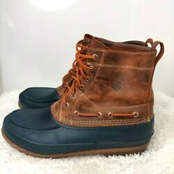 Sperry Mens Sts-13459 Brown Blue Leather Lace Up Ankle Duck Boots Size 13 M