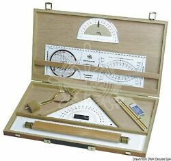 Osculati Wooden Charting Kit 47x26cm Quare Parallel Rule Protractor Goniometer