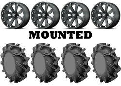 Kit 4 High Lifter Outlaw 3 Tires 31x9-16 On Msa M20 Kore Black Wheels Can