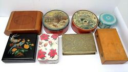 Mixed Lot Wood Metal Composite Tins Boxes Trinket Storage Jars Dahmer Containers