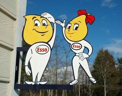 Old Style Esso Motor Oil Drop Boy And Girl Dicut Flange Thick Steel Sign Usa Made