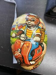 Vintage Made In West Germany 6 Paper Mache Easter Egg Rabbit On Scooter Ww