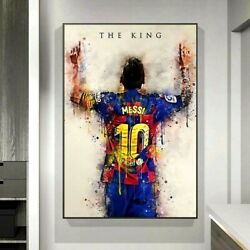 Soccer King Lionel Messi Figure Poster Art Painting Canvas Print Wall Deco Home