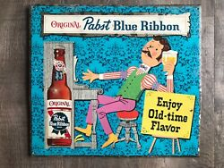 Large 1950s Sign Very Scarce Pabst Blue Ribbon Beer Tin Over Cardboard Toc Sign