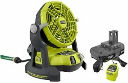 New Ryobi 18-volt One+ Portable Bucket Top Misting Fan Kit With Batterysealed