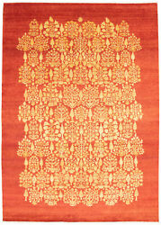Vintage Hand-knotted Carpet 8'10 X 12'3 Traditional Dark Copper Wool Area Rug